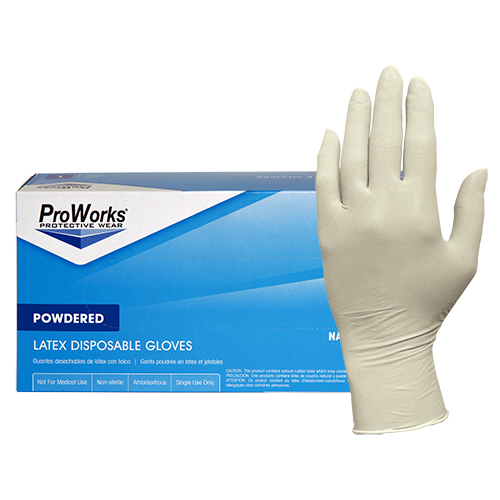 ProWorks Latex Powdered Disposable Gloves Small 100//Box Natural GL-L105P