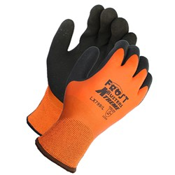 Winter Coated Gloves, Polyester Shell, Latex Coated, 13 guage, Orange