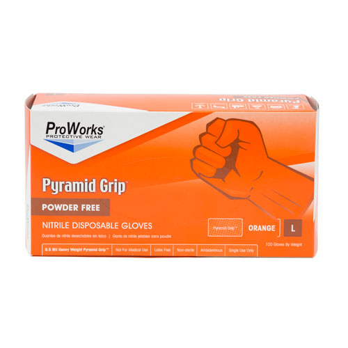 ProWorks Pyramid Grip orange Nitrile Large