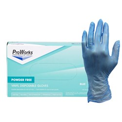 Blue Vinyl Powder Free Glove-Large